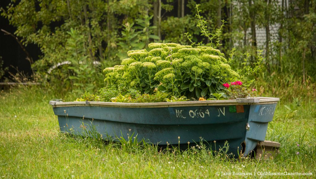 Boat turned planter on the Old Mission Peninsula | Jane Boursaw Photo
