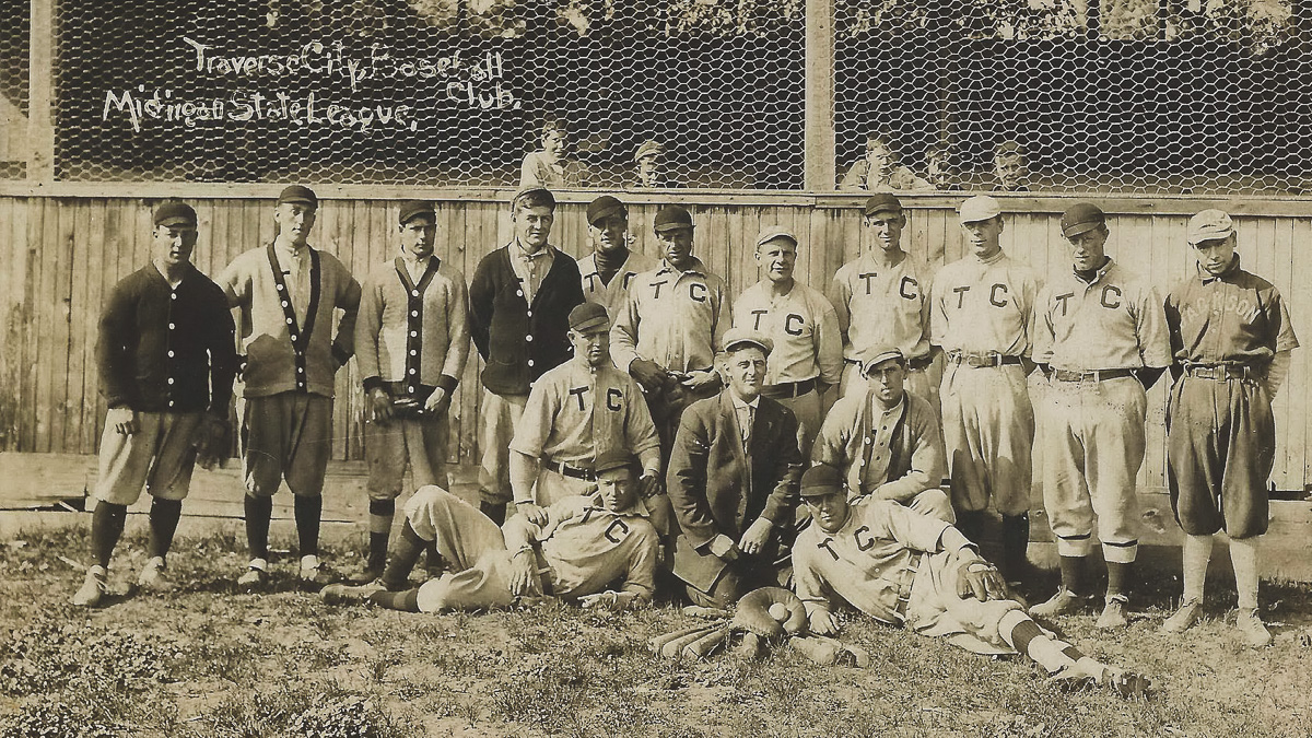 Traverse City Resorters Baseball Team at Bowers Harbor Park circa 1910 on the Old Mission Peninsula | Don Harrison Photo; UpNorth Memories Postcards and Paper Collectibles