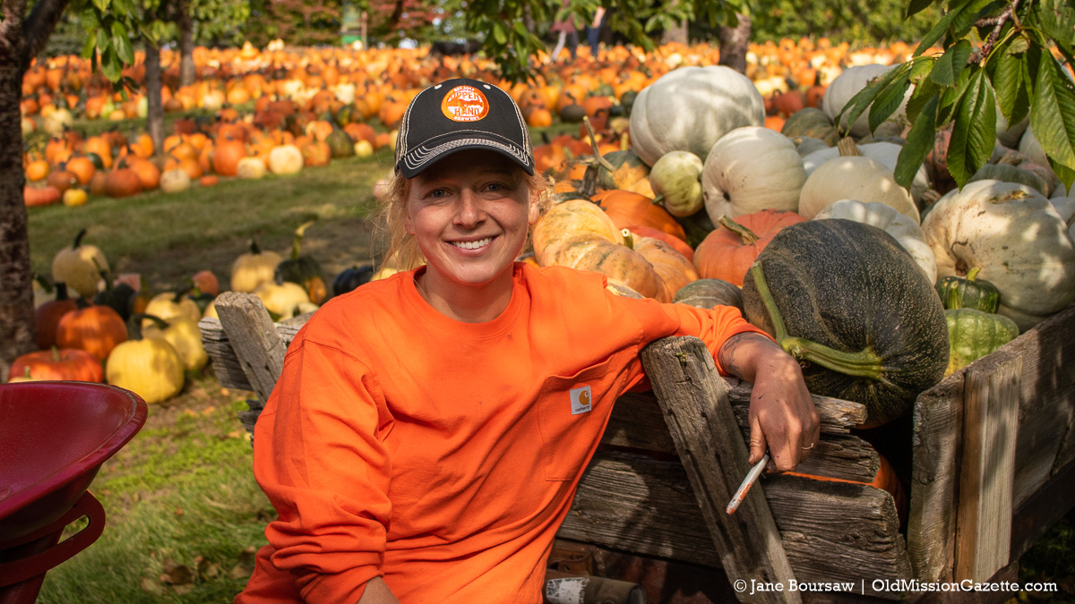 Cory Holman's wife Elise at Cory Holman's Pumpkin Patch on the Old Mission Peninsula | Jane Boursaw Photo