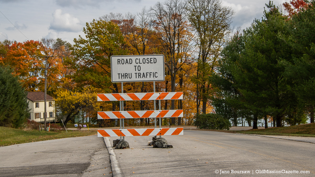 """""""Road Closed"""" sign at the corner of Boursaw Road and Bluff Road 