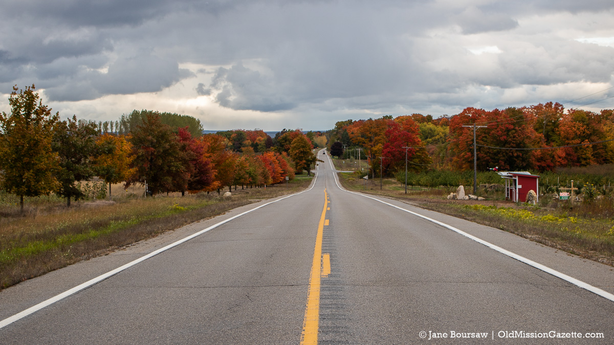 Fall Colors on the Old Mission Peninsula; Center Road looking north towards Swaney Road | Jane Boursaw Photo
