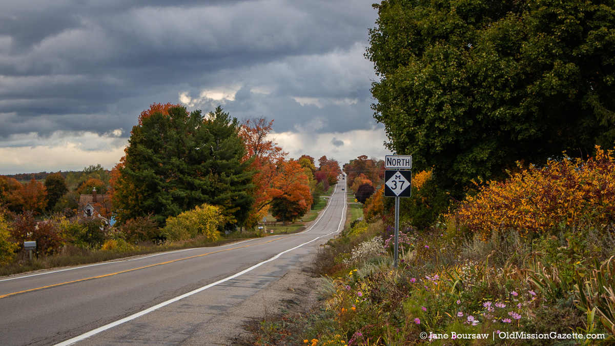 Fall Colors on the Old Mission Peninsula; Center Road looking north from Old Mission Flowers, corner of Center Road and Ladd Road | Jane Boursaw Photo