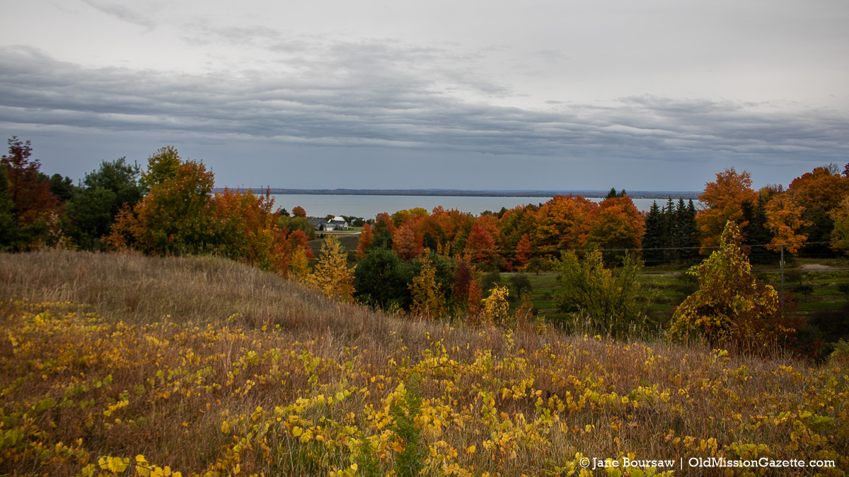 Fall Colors on the Old Mission Peninsula; Center Road looking east from the Hogsback | Jane Boursaw Photo