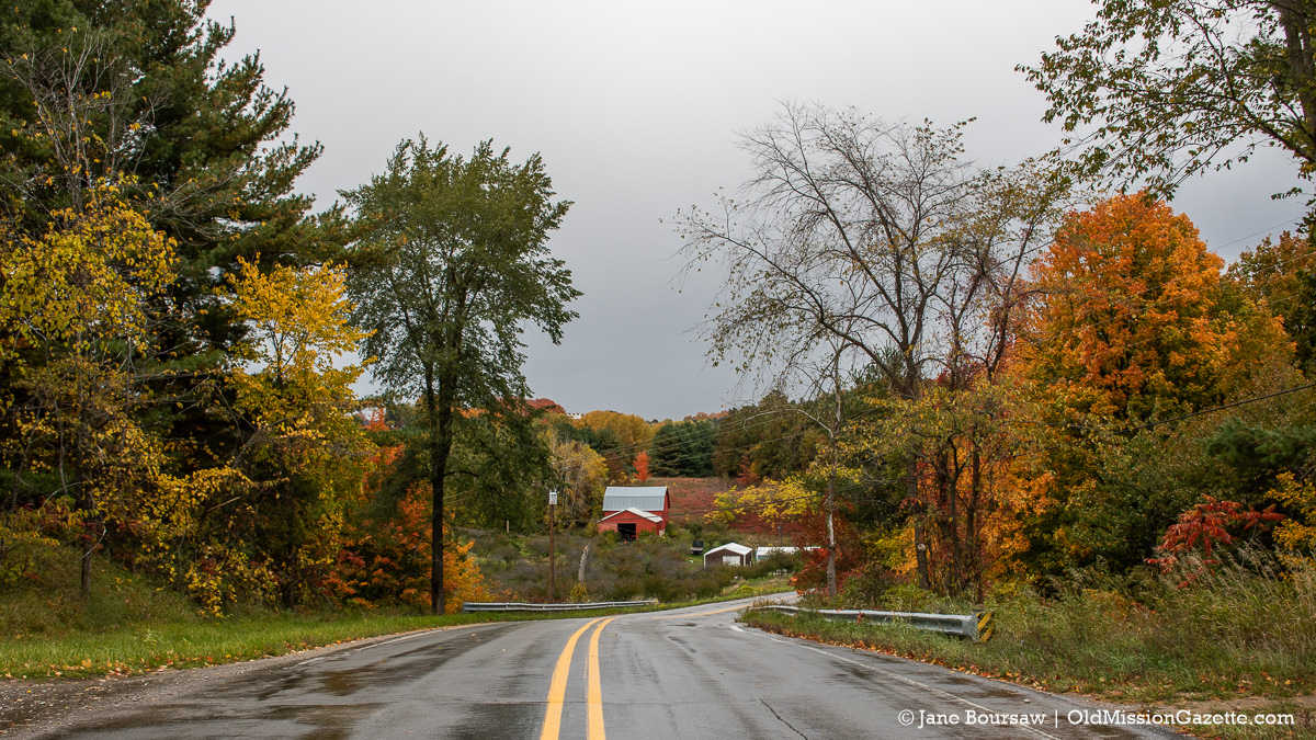 Fall Colors on the Old Mission Peninsula; Smokey Hollow Road looking north towards Danny Fouch's farm | Jane Boursaw Photo