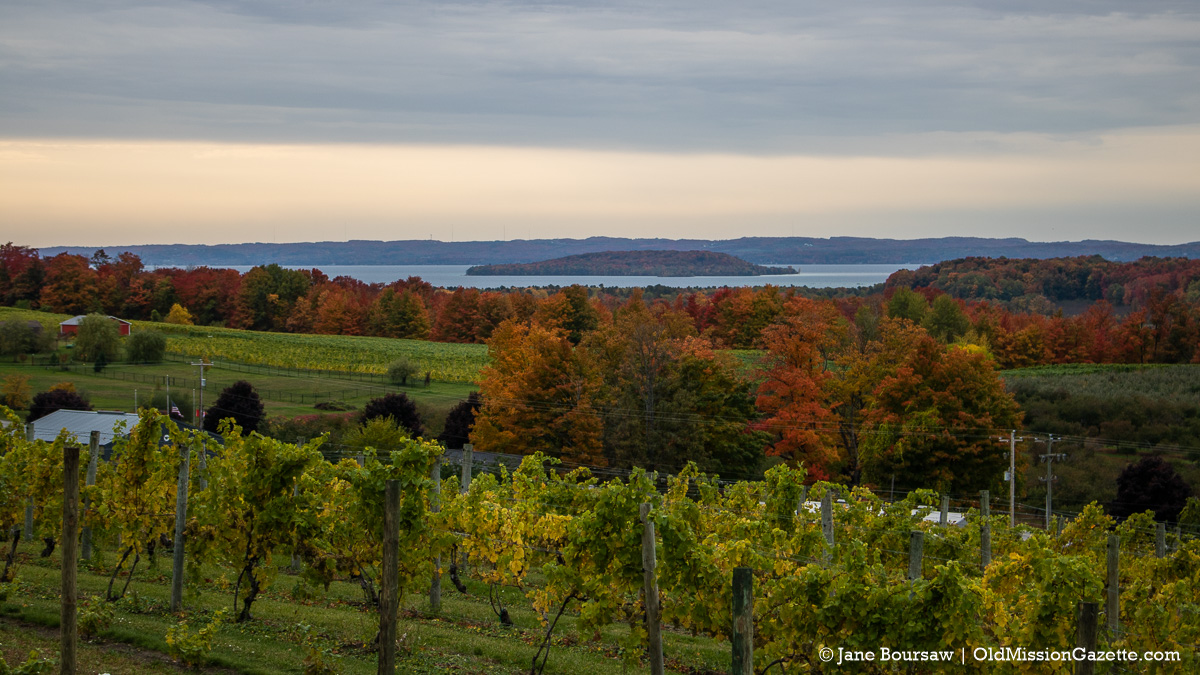 Fall Colors on the Old Mission Peninsula; Chateau Chantal looking west towards Power Island | Jane Boursaw Photo