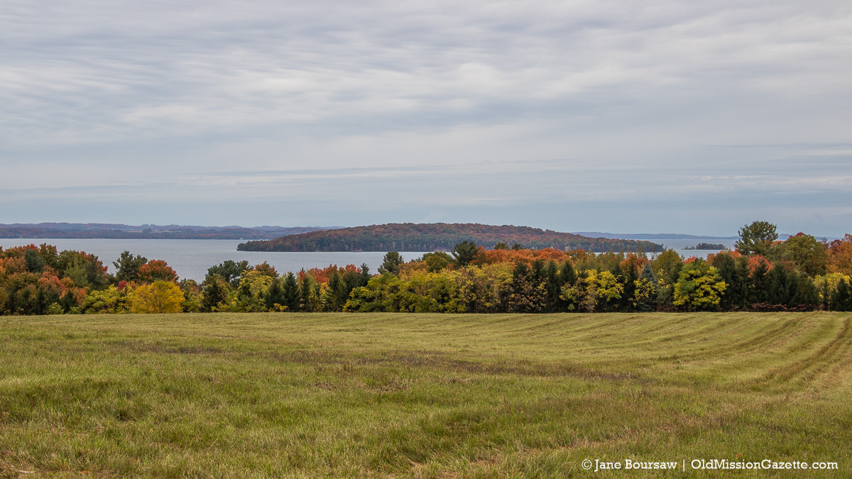 Fall Colors on the Old Mission Peninsula; Top of Wilson Road looking towards Power Island | Jane Boursaw Photo