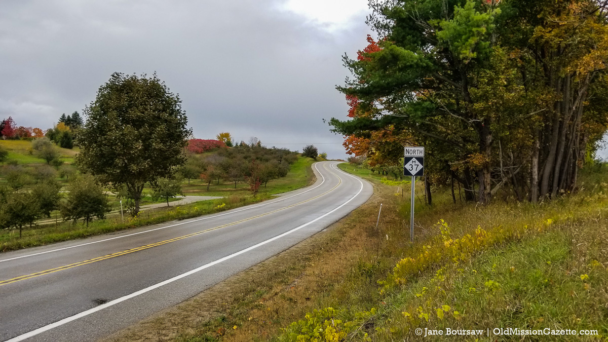 Fall Colors on the Old Mission Peninsula; Center Road looking north from the Smokey Hollow intersection | Jane Boursaw Photo