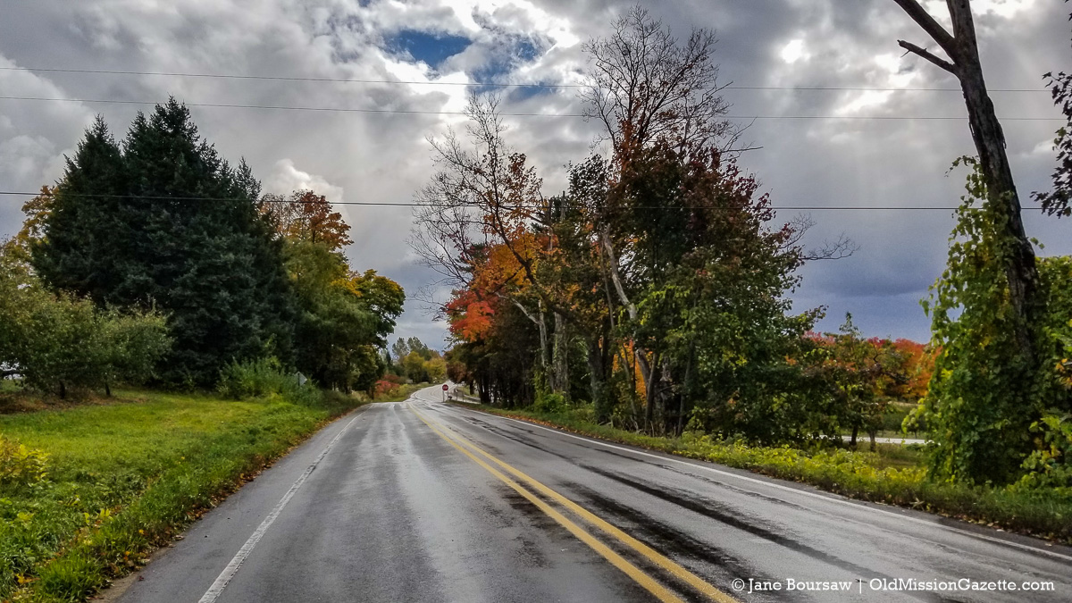 Fall Colors on the Old Mission Peninsula; Smokey Hollow Road looking south from the Cut-Across | Jane Boursaw Photo