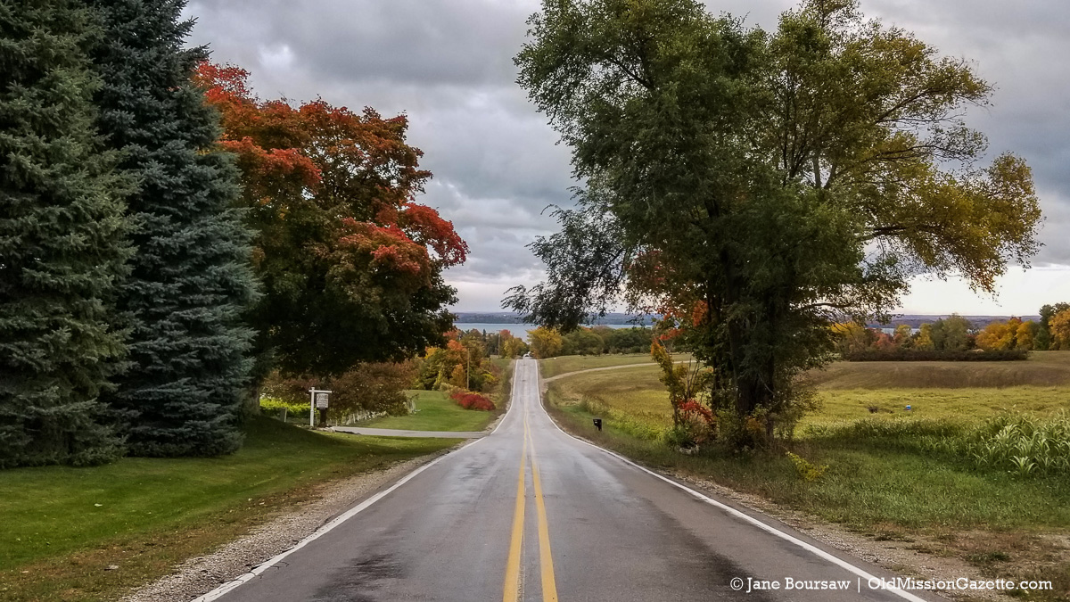 Fall Colors on the Old Mission Peninsula; Blue Water Road looking east | Jane Boursaw Photo