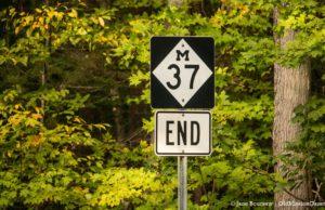 M37 End Sign near Mission Point Lighthouse on the Old Mission Peninsula; Road Millage Renewal | Jane Boursaw Photo