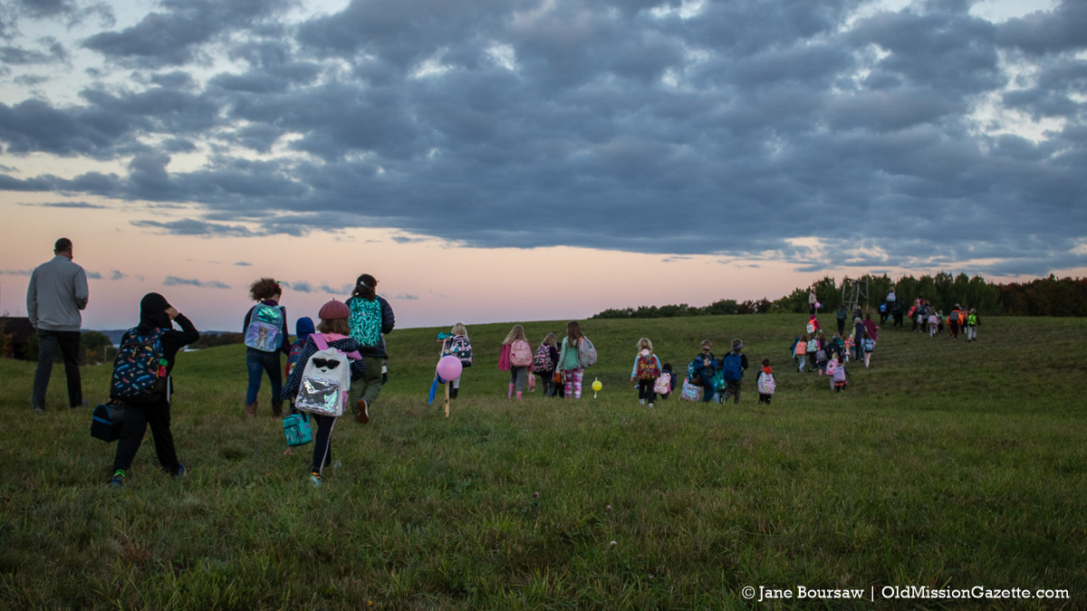 National Walk to School Day: OMPS Kids Walk from Peninsula Community Library to OMPS   Jane Boursaw Photo