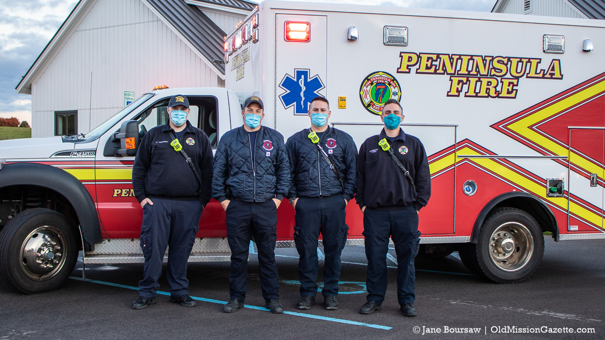 Peninsula Township Fire Department at OMPS Walk to School Day on the Old Mission Peninsula   Jane Boursaw Photo