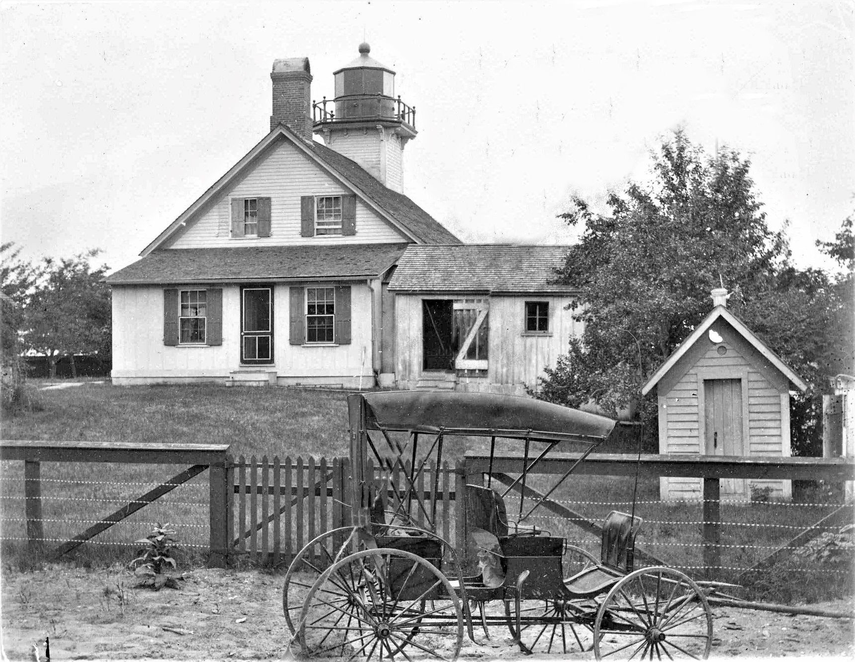 Vintage Photo of Mission Point Lighthouse on the Old Mission Peninsula | Old Mission Gazette Photo