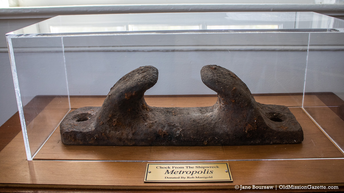 Straight chock from the Metropolis shipwreck near Mission Point Lighthouse, donated by Rob Manigold; a chock is often used in the stern to feed lines to the cleat | Jane Boursaw Photo