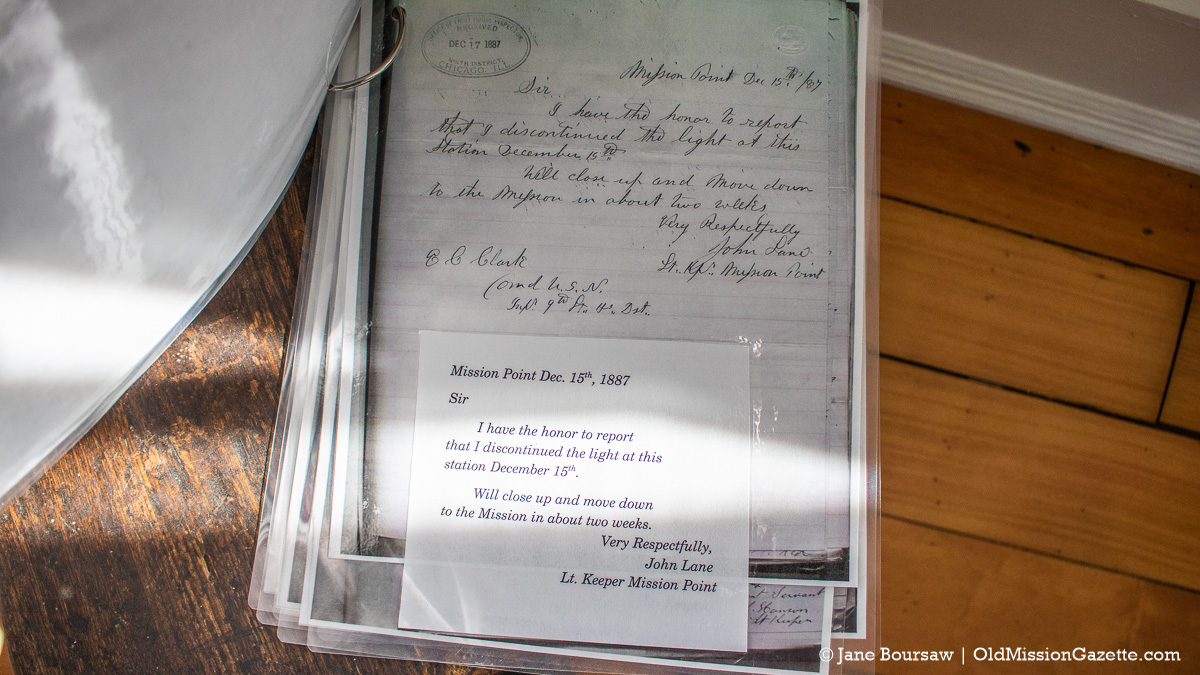 Copy of a page from Lighthouse Keeper John Lane's log at Mission Point Lighthouse | Jane Boursaw Photo