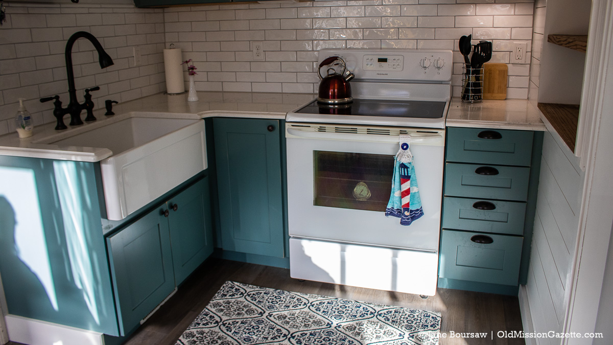 Renovated Kitchen with new cupboards at Mission Point Lighthouse | Jane Boursaw Photo