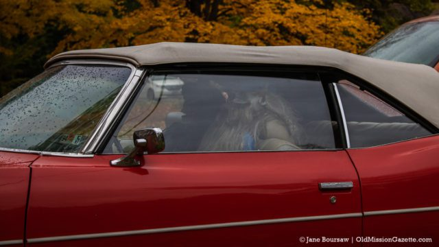 Yep, a couple of skeletons are driving this classic car (it's for sale, by the way) on East Shore Road | Jane Boursaw Photo