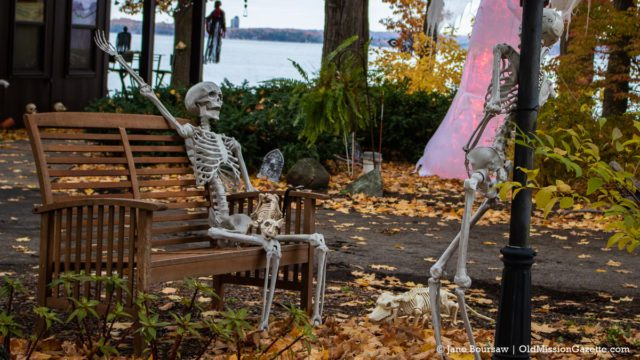 A couple of skeletons living their best life on East Shore Road | Jane Boursaw Photo