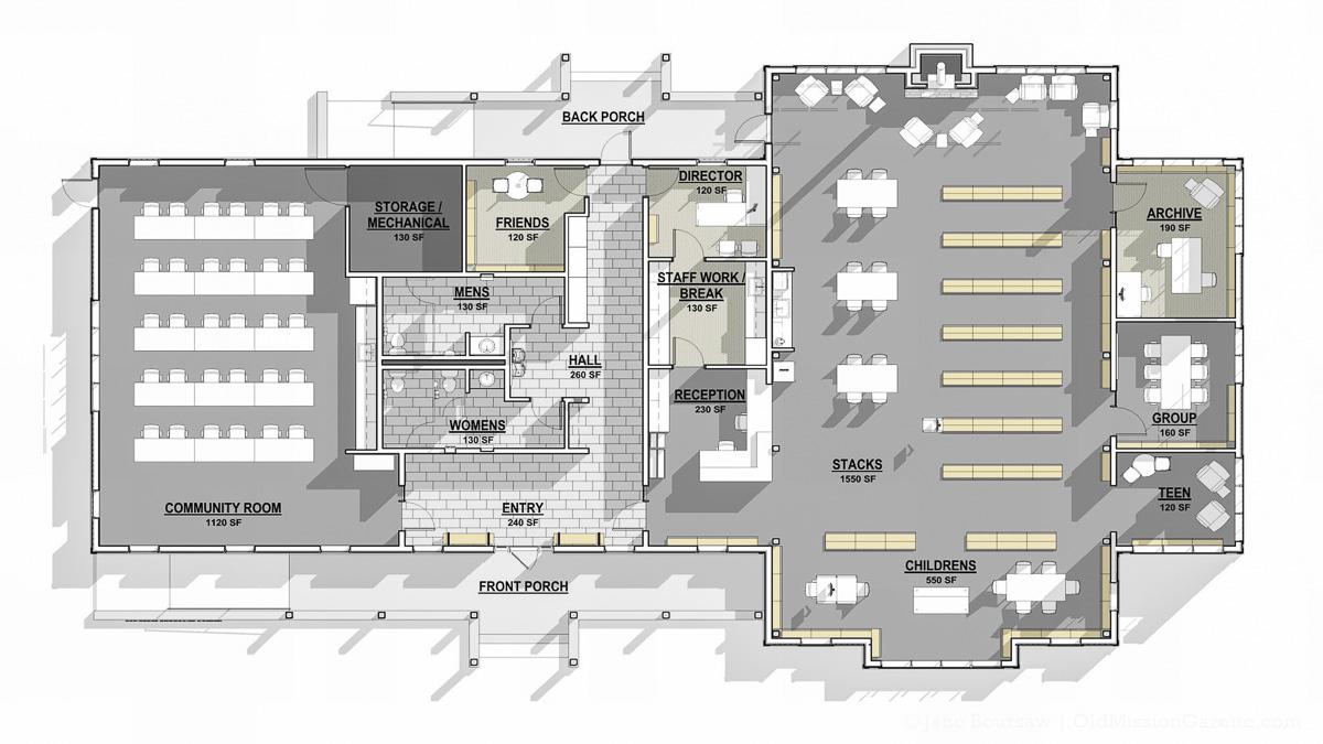 Peninsula Community Library Cozy November Murder Mystery; Library Floor Plan | PCL Photo