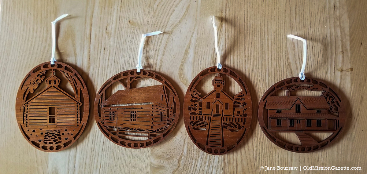 Wooden Ornaments from the Old Mission Peninsula Historical Society | Jane Boursaw Photo