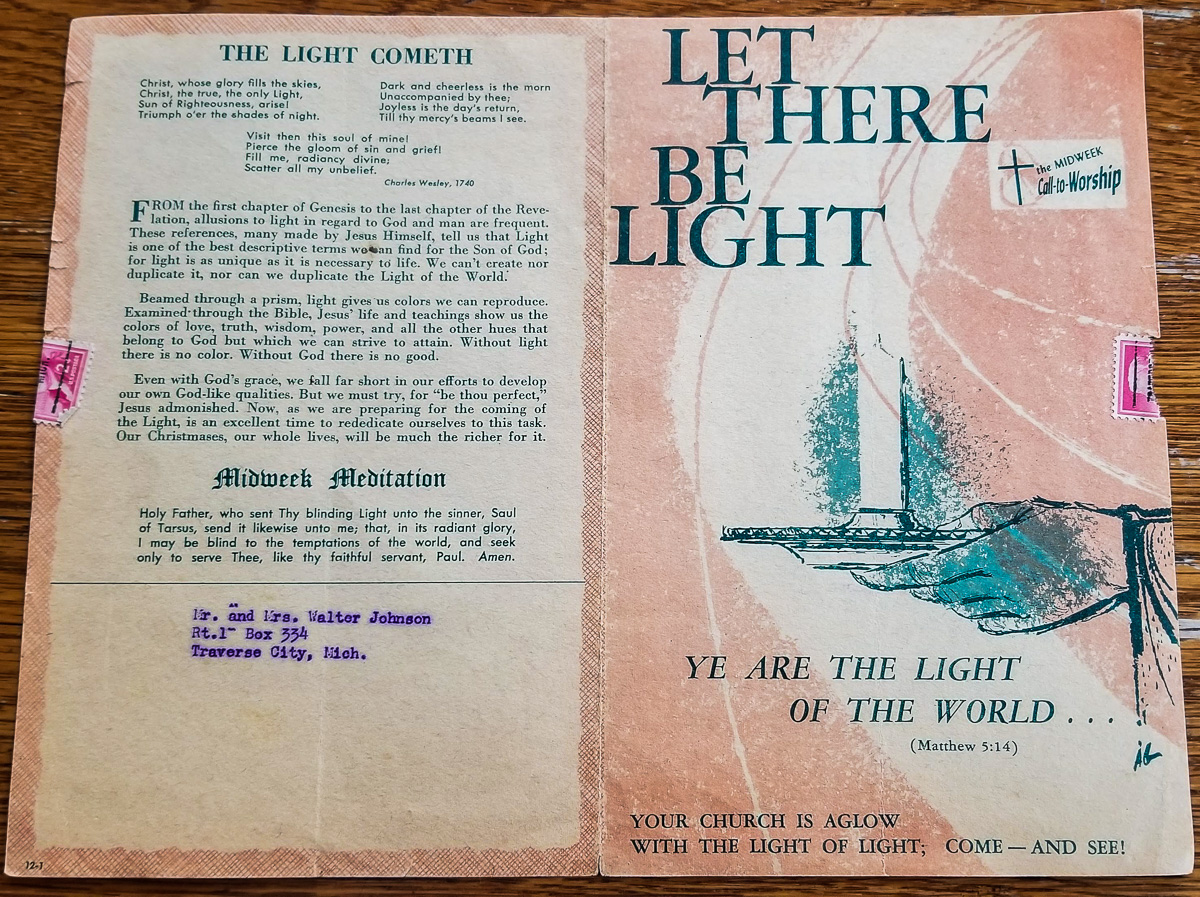 Richard Selleck's Ogdensburg UMC Newsletter dated Dec. 18, 1957   Mary Johnson Archives