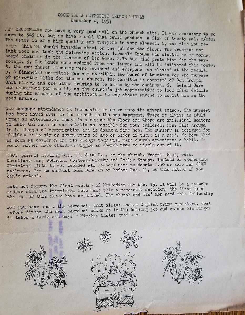 Richard Selleck's Ogdensburg UMC Newsletter dated Dec. 4, 1957   Mary Johnson Archives
