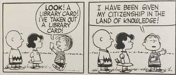 Charlie Brown, Linus and Lucy; Linus delights in his new library card | Charles M. Schulz, Peanuts Comic Strip