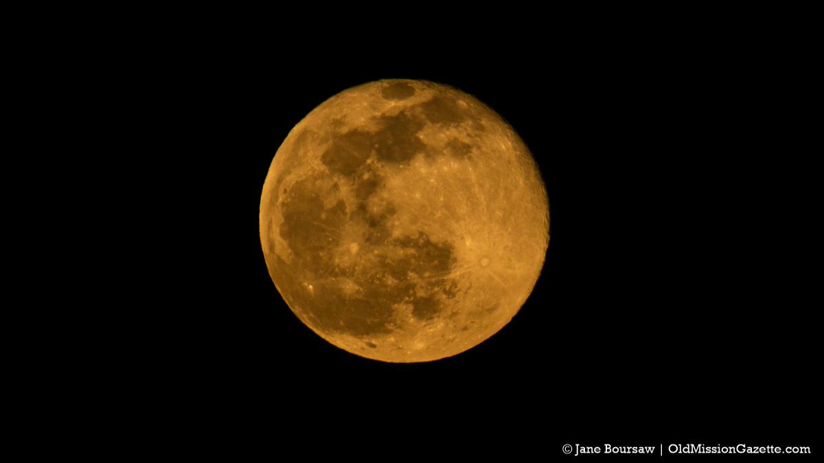 Snow Moon; Moonrise over Old Mission Harbor on Feb. 27, 2021 | Jane Boursaw Photo