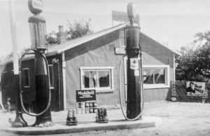 Winnie's Service, a gas station on the corner of Center Road and Old Mission Road on the Old Mission Peninsula, circa 1930s and 1940s | Photo courtesy of Mel Winnie