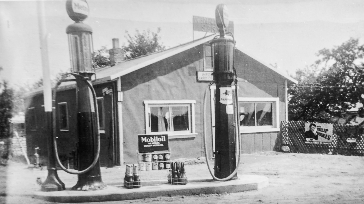 Winnie's Service, a gas station on the corner of Center Road and Old Mission Road on the Old Mission Peninsula, circa 1930s and 1940s   Photo courtesy of Mel Winnie