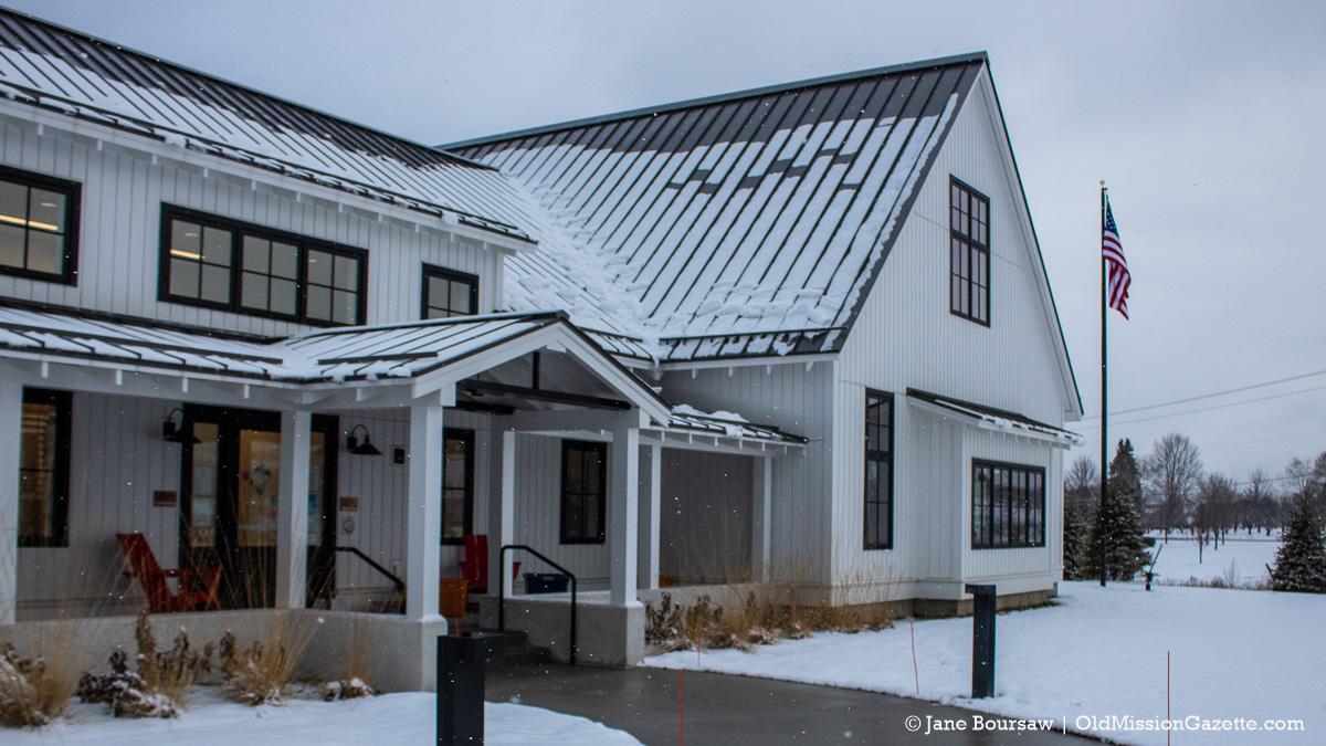 Peninsula Community Library; New Flagpole Donated by the Schermerhorn family in honor of Bob Schermerhorn | Jane Boursaw Photo