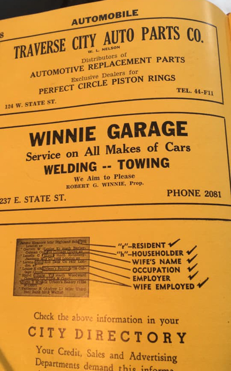 Winnie Garage ad in the 1945 City Directory; Traverse City, Michigan   Photo courtesy of Larry Hains, Traverse Area Historical Society