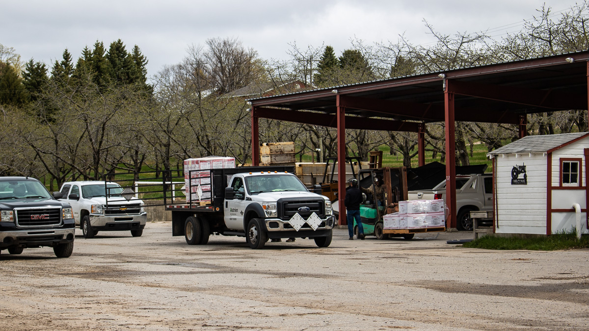 Fertilizer arrives at Johnson Farms on the Old Mission Peninsula | Jane Boursaw Photo