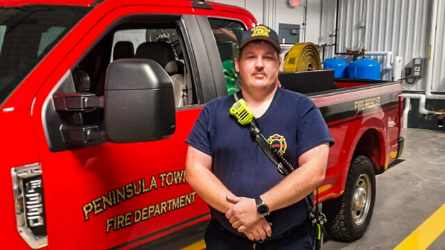 Tommy VanderMey at Peninsula Fire Department's new Fire Station 3 on the Old Mission Peninsula | Jane Boursaw Photo