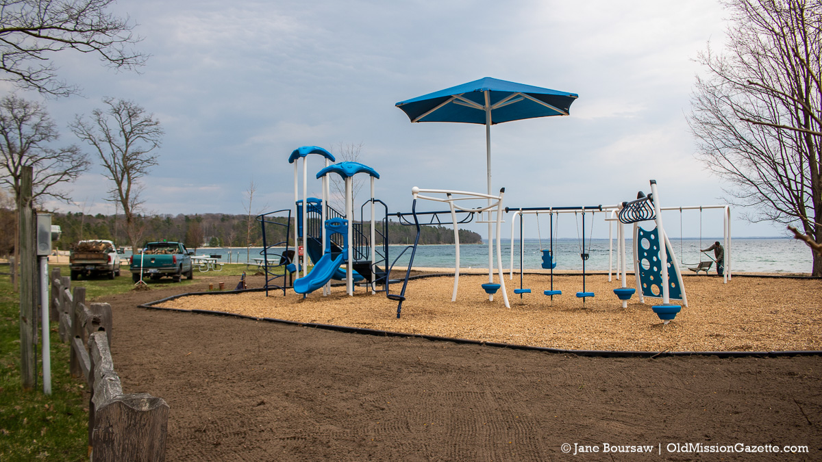 Landscaping at the new Haserot Beach play structure | Jane Boursaw Photo