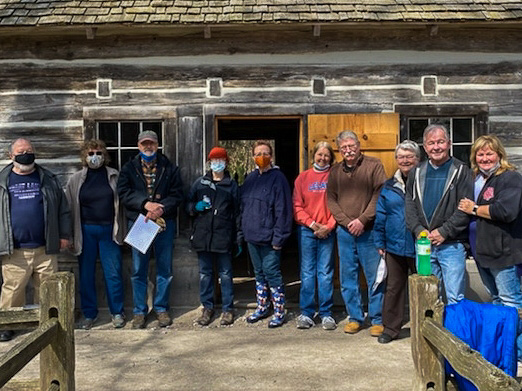 Spring Cleanup Crew at Hessler Log Home, Peninsula Township Lighthouse Park | Scarbrough Photo