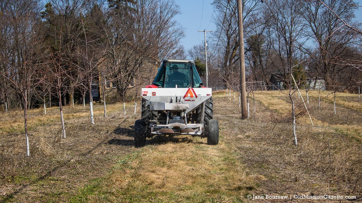 Ward Johnson fertilizing one of his orchards on Center Road | Jane Boursaw Photo