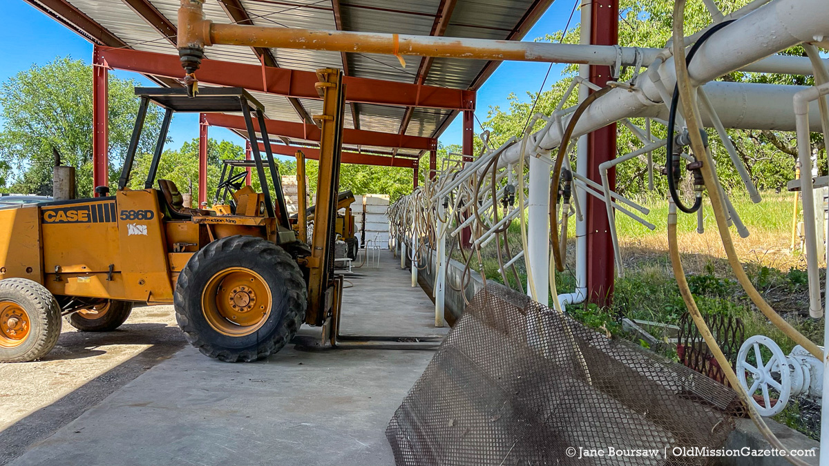Forklift at Johnson Farms Cooling Pad/Receiving Station | Jane Boursaw Photo