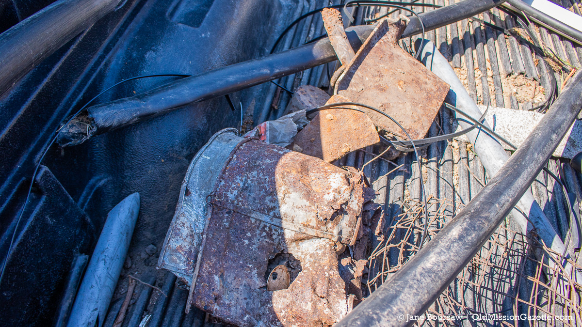 Items discovered in foundation while digging irrigation for honeycrisp apple orchard; Johnson Farms, corner of Kroupa Road and Center Road | Jane Boursaw Photo