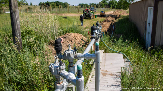 Running irrigation at Johnson Farms; honeycrisp apple orchard on the corner of Kroupa Road and Center Road | Jane Boursaw Photo