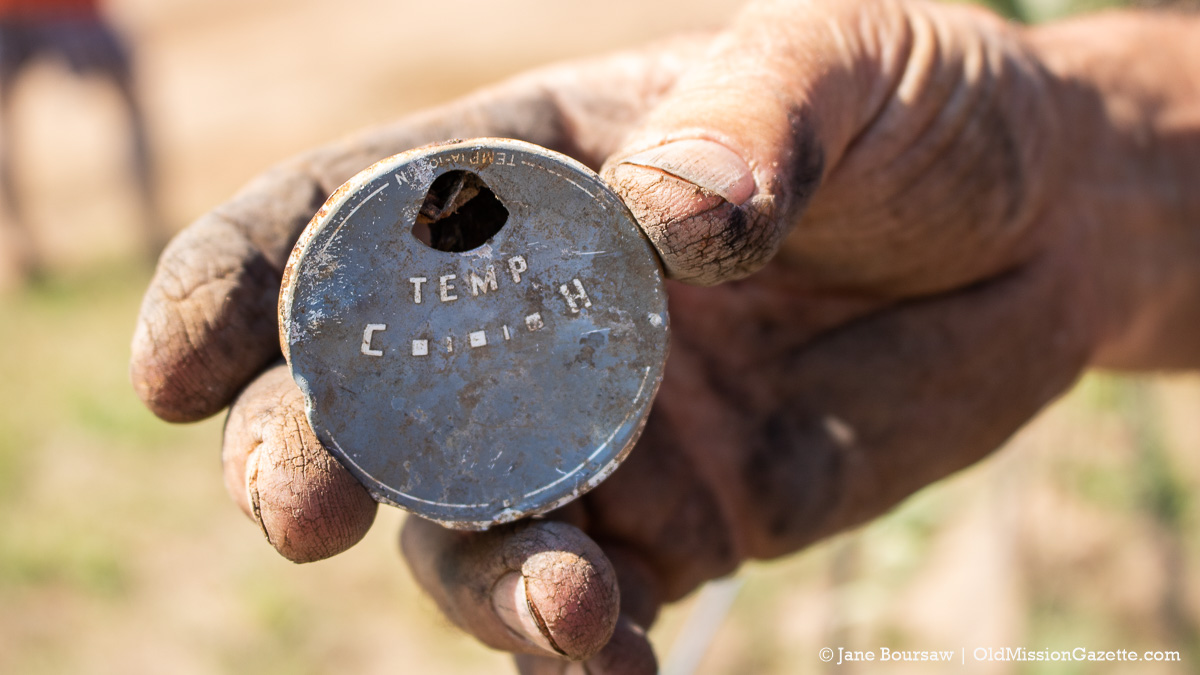 Item discovered in foundation while digging irrigation for honeycrisp apple orchard; Johnson Farms, corner of Kroupa Road and Center Road | Jane Boursaw Photo