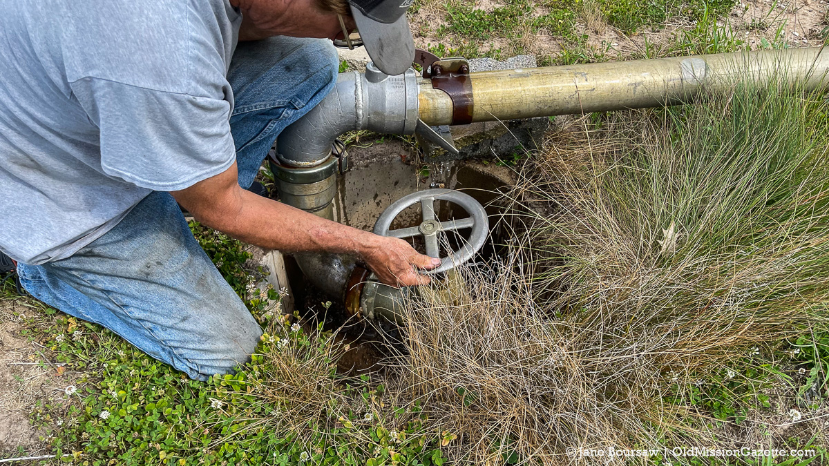 Where the water goes; the irrigation system out back (about a half-mile from the cooling pad) | Jane Boursaw Photo