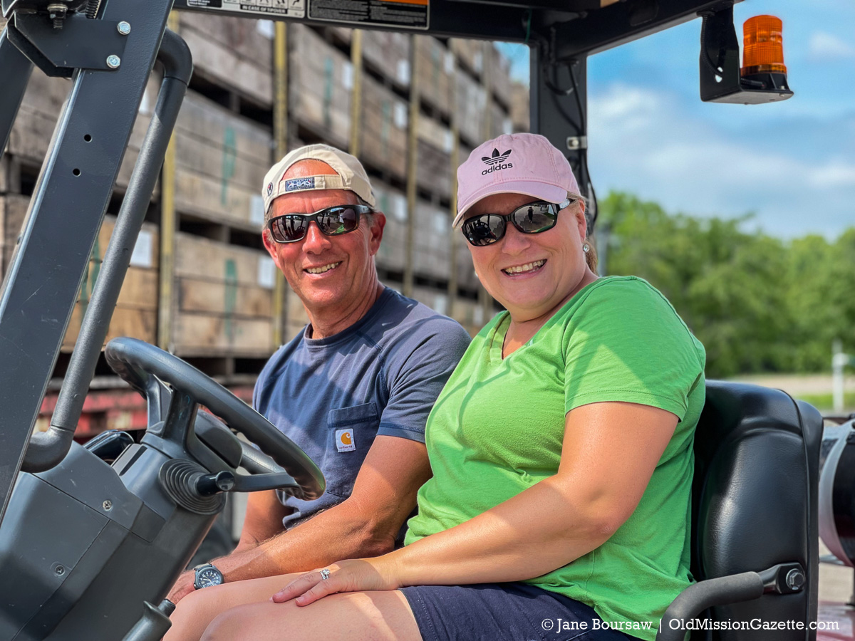 Heatherlyn Johnson and her husband, Randy Stuck, at the Johnson Farms Cooling Pad on the Old Mission Peninsula | Jane Boursaw Photo