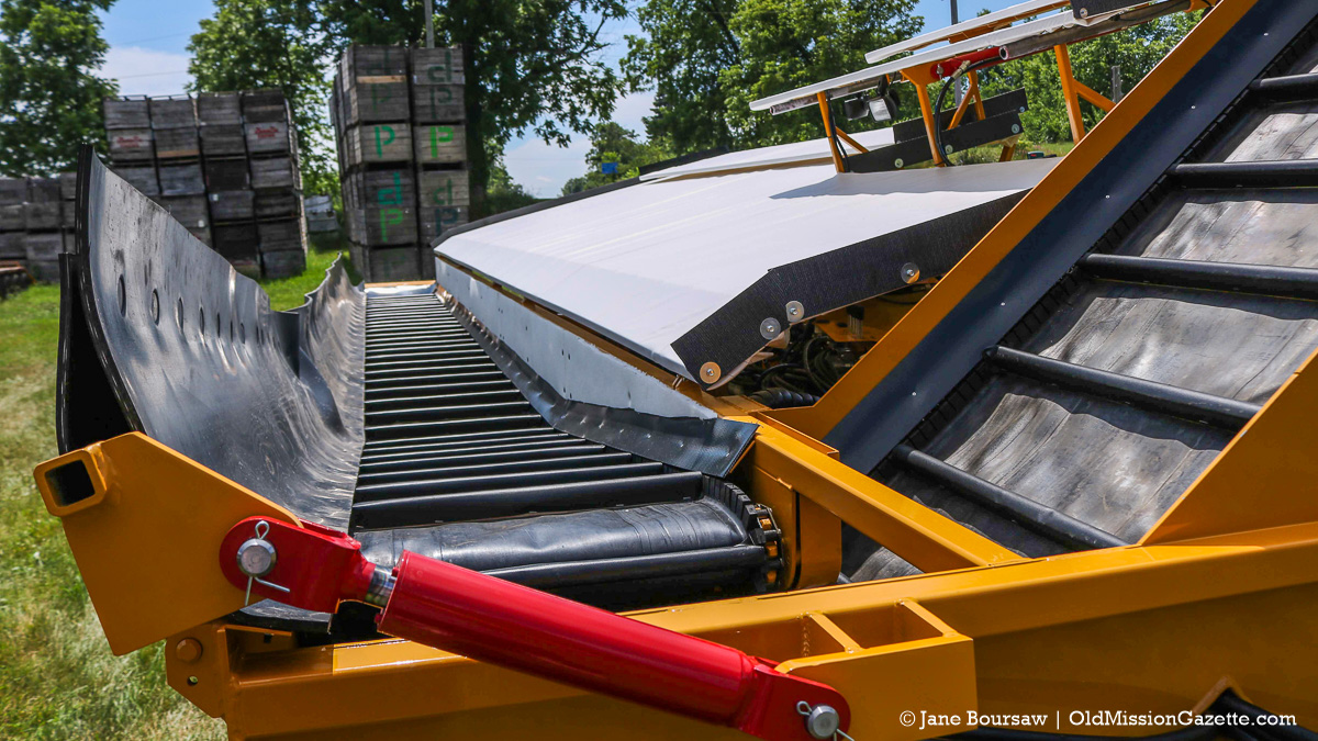 New Side-by-Side Cherry Shaker arrives at Johnson Farms, July 2017 | Jane Boursaw Photo