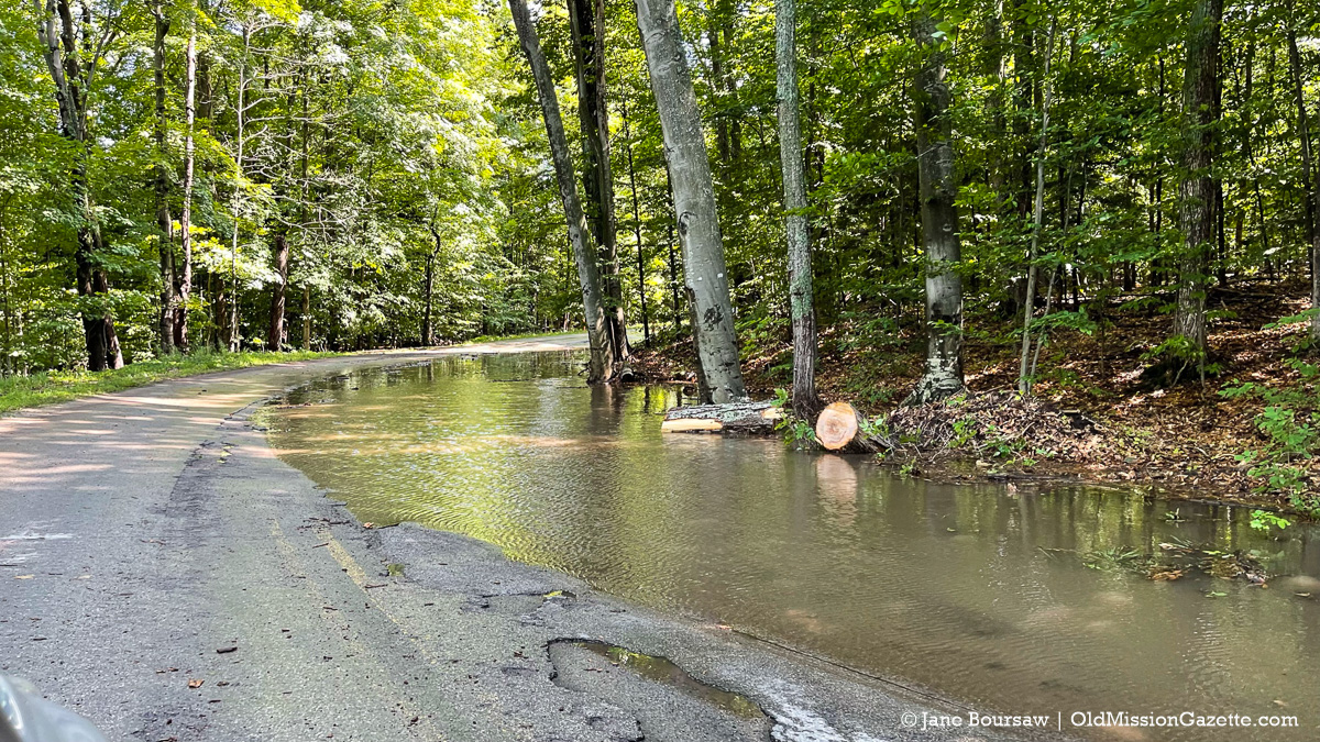 Swaney Road flooded on the Old Mission Peninsula; July 24, 2021   Jane Boursaw Photo