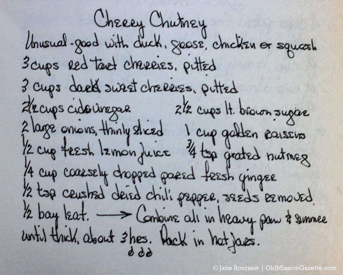"Deni Hooper's Sweet Cherry Recipes - Cherry Chutney from ""The Magic Cherry"" - Old Mission Peninsula   Jane Boursaw Photo"