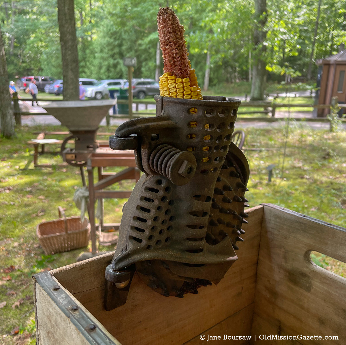 Antique Corn Shucker on display at Mission Point Lighthouse; Harvesting History event | Jane Boursaw Photo