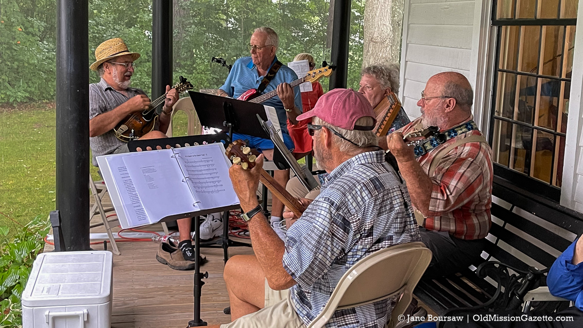 Al Bonney, right, with musicians at a sing-along at the Dougherty House for Harvesting History event | Jane Boursaw Photo