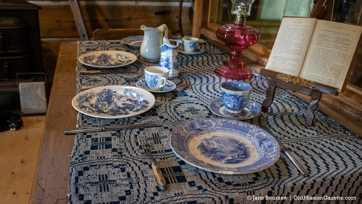 Table display in the Hessler Log Home at Lighthouse Park | Jane Boursaw Photo