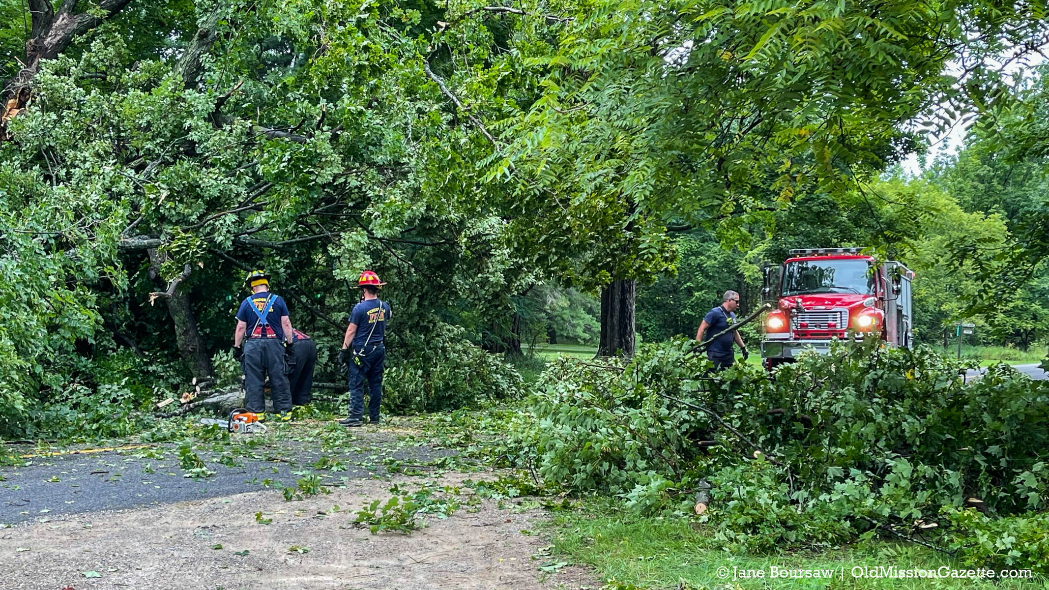 Peninsula Fire Department responds to fallen tree on Mission Road on the Old Mission Peninsula   Jane Boursaw Photo